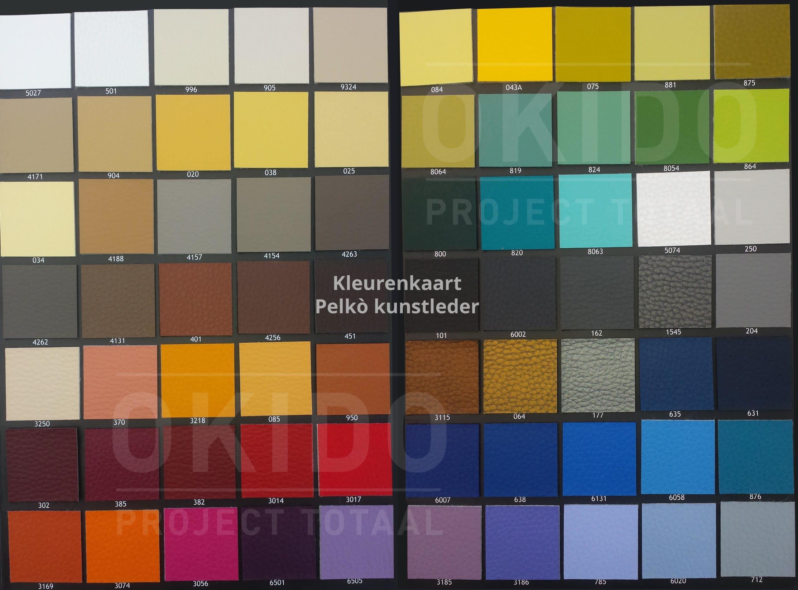 Pelko kleurkaart totaal - Wandbank Florence hoek