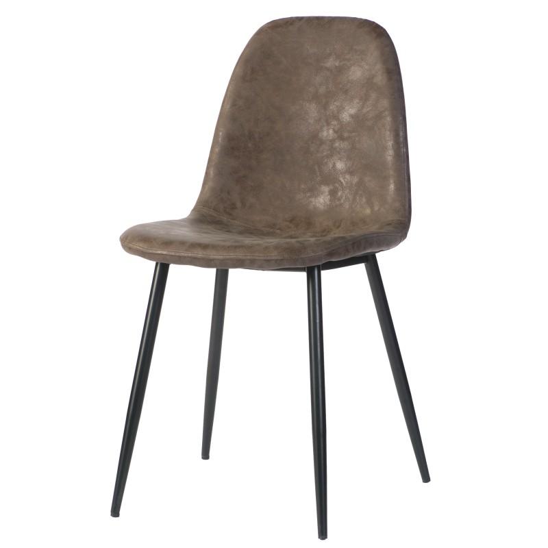 de stoel Charlie Darkbrown heeft een zwart onderstel
