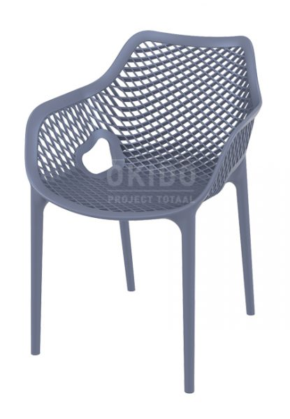 Ariane chair dark grey 415x600 - Terrasstoel Ariane met arm Dark Grey