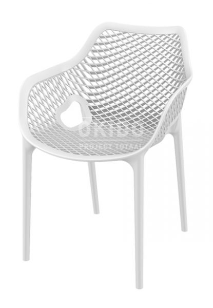 Ariane chair white 415x600 - Terrasstoel Ariane met arm White