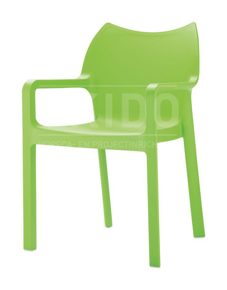 Diva tropical green met logo - Terrasstoel Diva Tropical Green