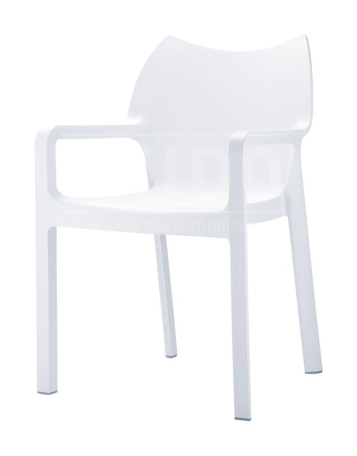 Diva white met logo - Terrasstoel Diva White