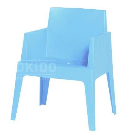 box light blue met logo - Terrasstoel Box light blue