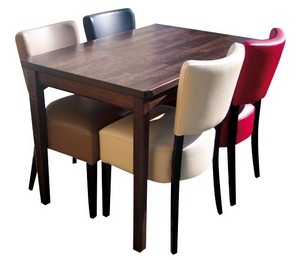 stoel Lisa 4x met tafel 120x80 met 4 poten - Lisa Set 1
