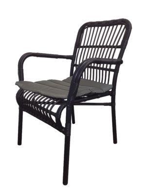 Darwin zwart vrijstaand met grijs kussen 300x400 - Terrasstoel Darwin Zwart